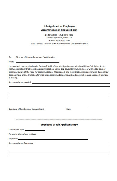 job applicant accommodation request form