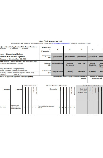 job risk assessment form