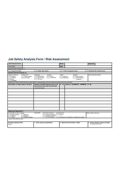 job safety assessment form