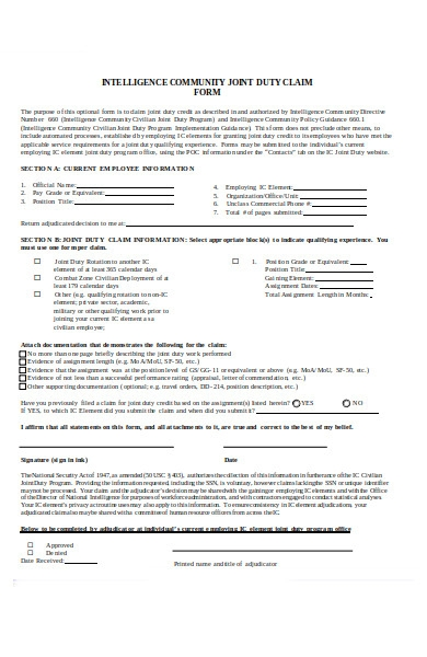 joint duty credit claim form