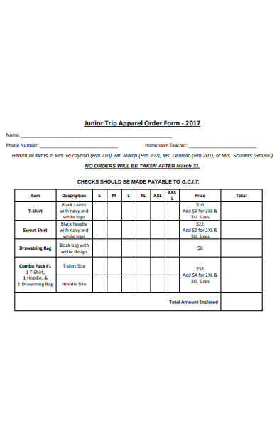 junior trip apparel order form