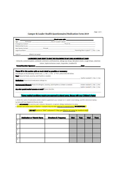 kids camp registration form