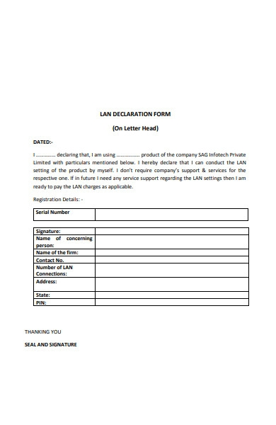 lan declaration form