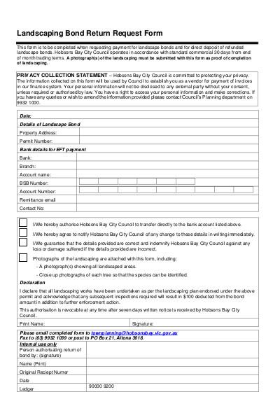 landscaping bond return request form