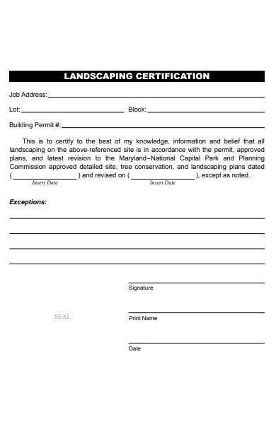 landscaping certification form