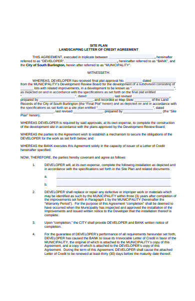 landscaping credit agreement form