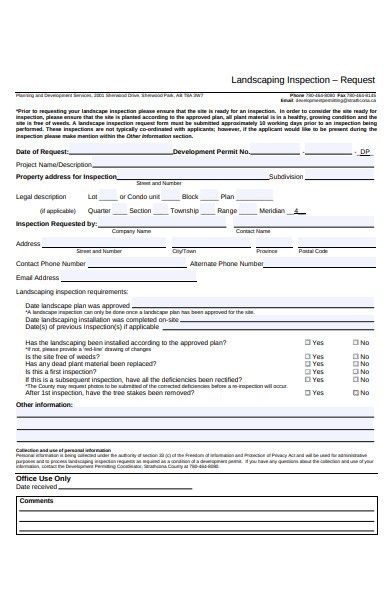 landscaping inspection request form