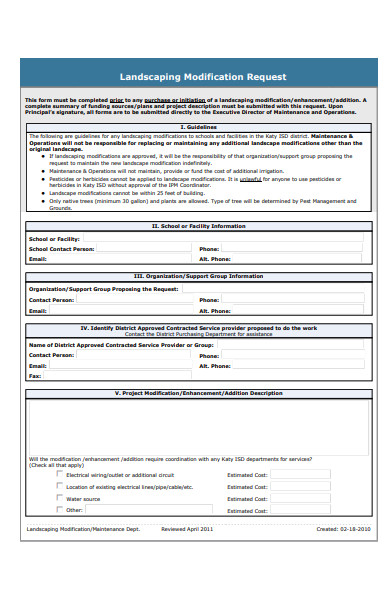 landscaping modification request form