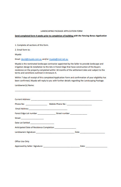 landscaping package application form