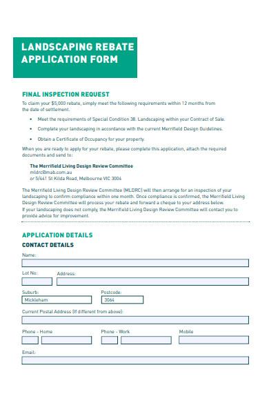 landscaping rebate application form