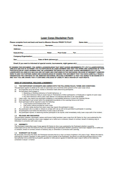 laser corps disclaimer form