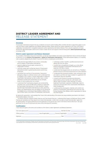 leader agreement form