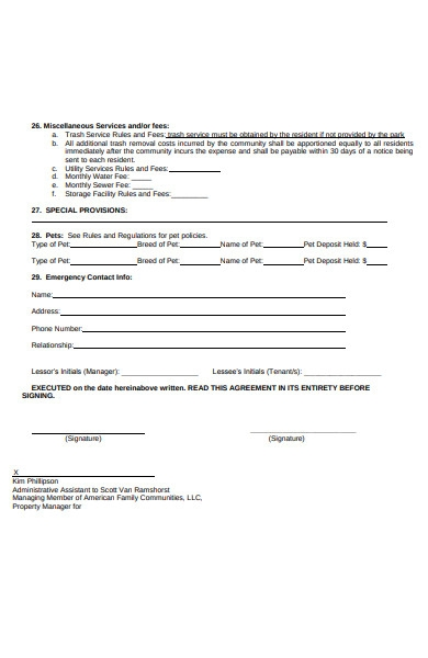 lease service and fees form