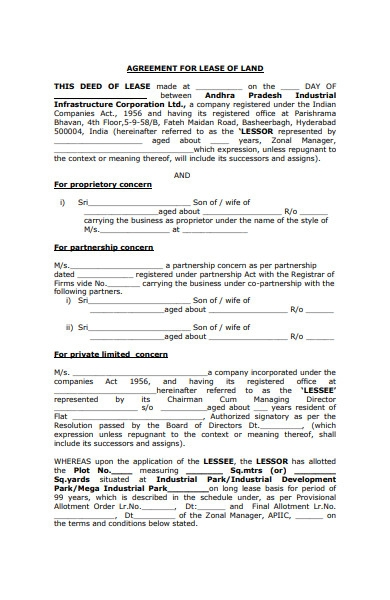 lease of land form