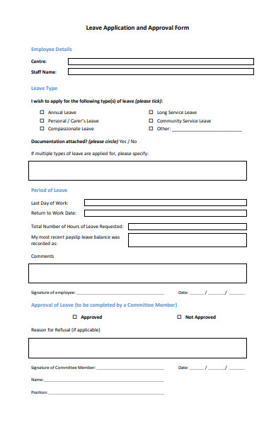leave application approval form