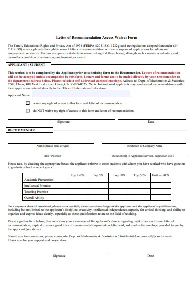 letter of access waiver form