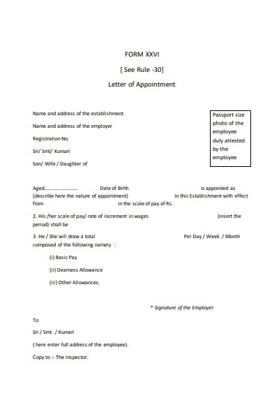 letter of appointment form