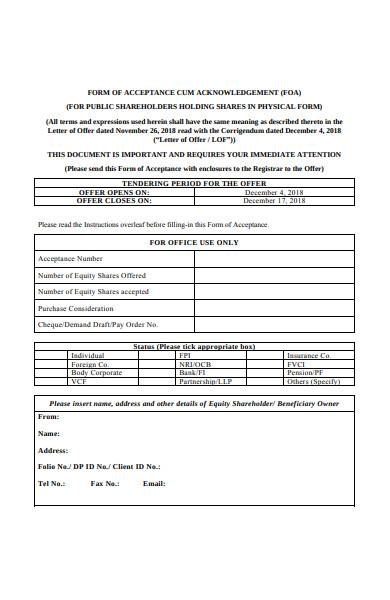 letter of offer acceptance form