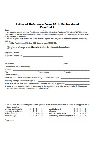 letter of reference form