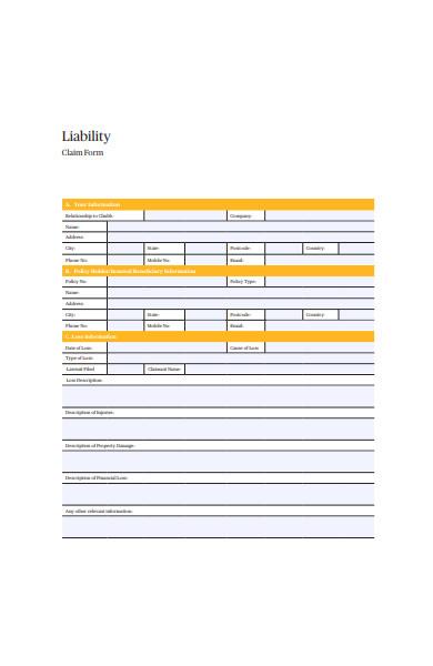 liability claim form in pdf
