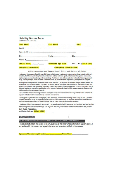 liability waiver form in pdf