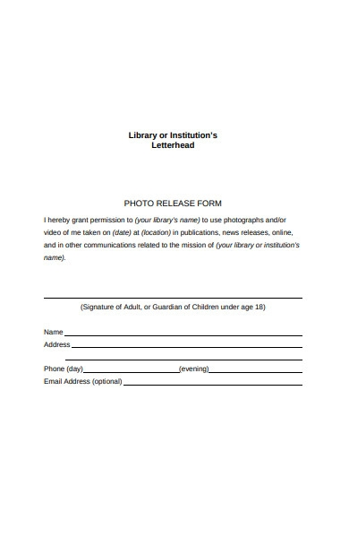 library photo release form
