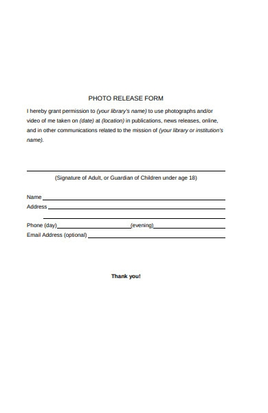 library photo release form1