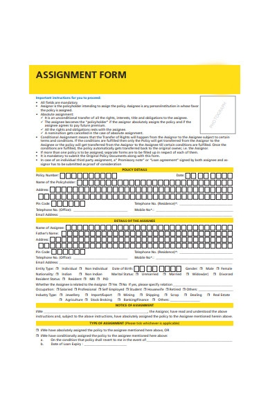 life insurance assignment form