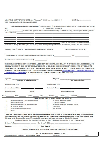 limited contract form