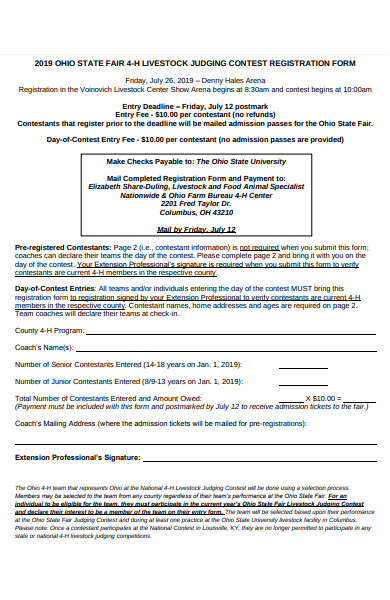 livestock judging contest registration form