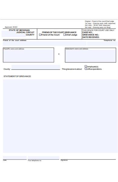 local grievance form sample