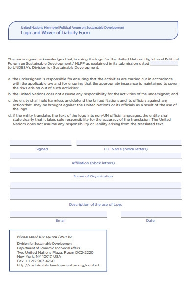 logo and waiver of liability form