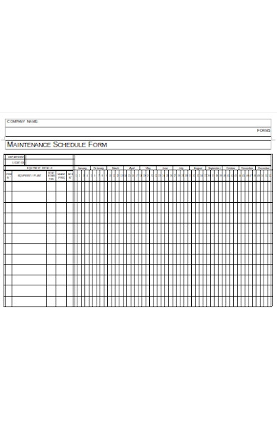 maintenance schedule form