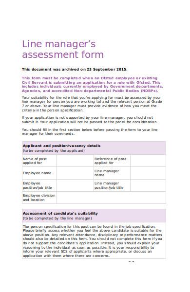 manager assessment form