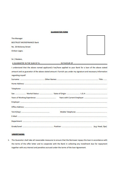 manager guarantor form