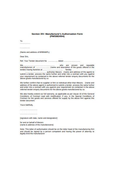 manufacturers authorization form