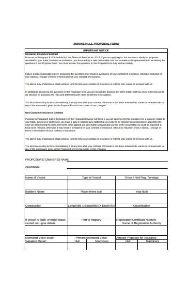 marine hull proposal form