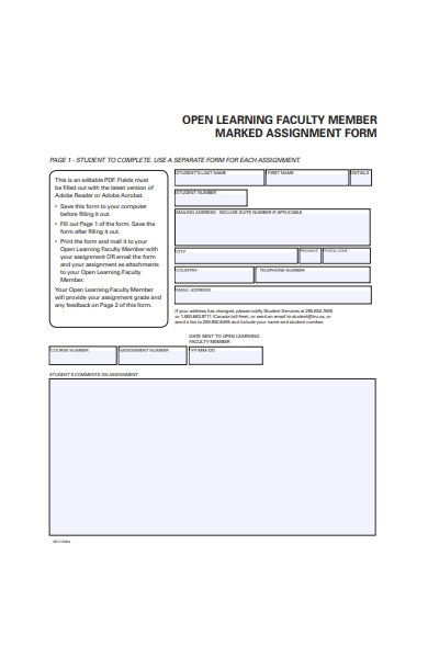 marked assignment form