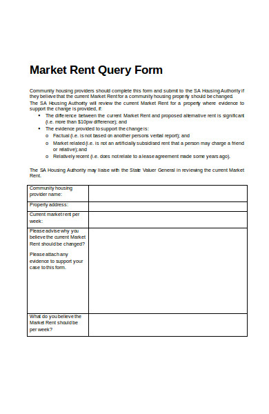 market rent query form