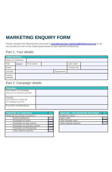 marketing enquiry form