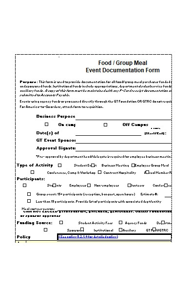 meal event form