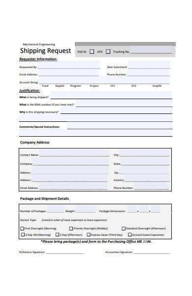 mechanical engineering shipping request form