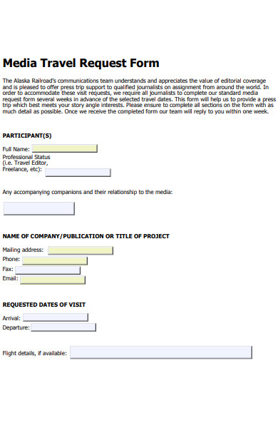 media travel request form