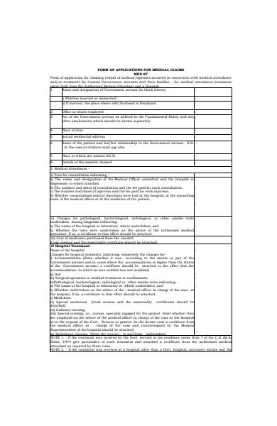 medical application claims form