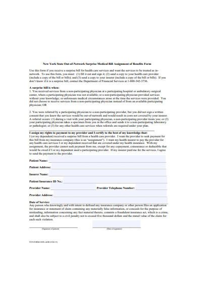 medical bill assignment of benefits form