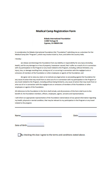 medical camp registration form