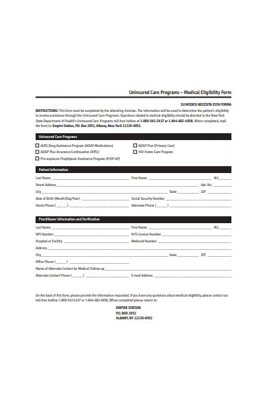 medical eligibility form