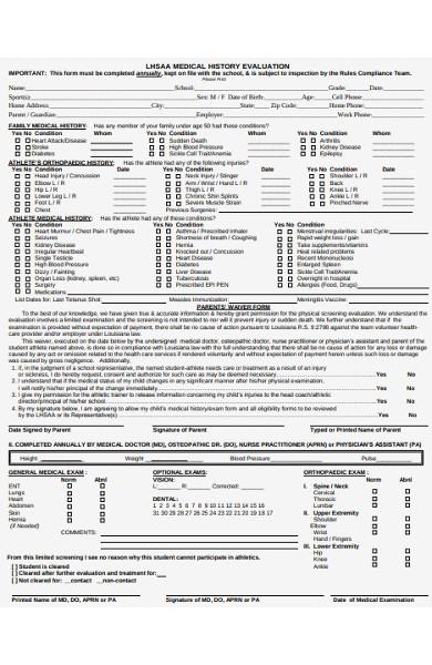 medical history evaluation form