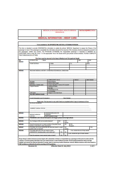 medical information form in pdf