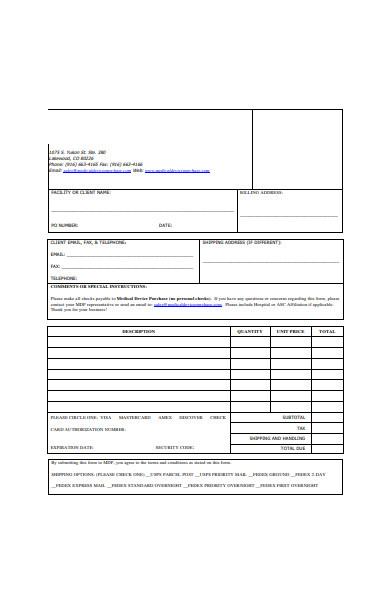 medical order form sample
